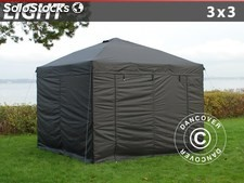 Carpa plegable FleXtents Light 3x3m Negro, Incl. 4 lados