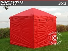 Carpa plegable FleXtents Light 3x3m Rojo, Incl. 4 lados