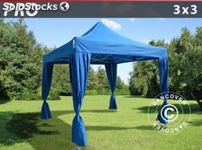 Carpa plegable FleXtents PRO 3x3m Azul, incluye 4 cortinas decorativas