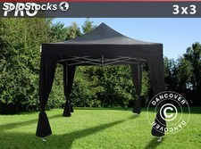 Carpa plegable FleXtents PRO 3x3m Negro, incl. 4 cortinas decorativas
