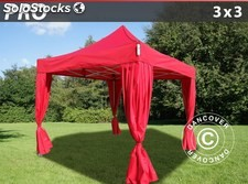 Carpa plegable FleXtents PRO 3x3m Rojo, incluye 4 cortinas decorativas