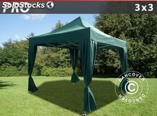 Carpa plegable FleXtents PRO 3x3m Verde, incl. 4 cortinas decorativas