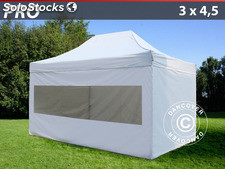 Carpa plegable FleXtents Pro 3x4,5 m, inkl. 4 paredes laterales, blanco