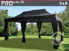 Carpa plegable FleXtents PRO 3x6m Negro, incluye 6 cortinas decorativas