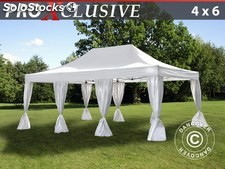 Carpa plegable FleXtents PRO 4x6m Blanco, incl. 8 cortinas decorativas