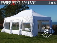Carpa plegable FleXtents PRO 4x6m Blanco, incl. 8 lados & cortinas decorativas