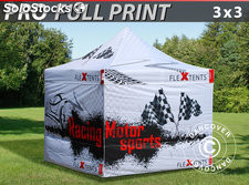 Carpa plegable FleXtents PRO con impresión digital completa, 3x3m, incluye 4 mur