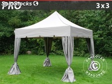 "Carpa plegable FleXtents PRO ""Peaked"" 3x3m Latte, incl. 4 cortinas decorativas"
