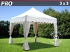 "Carpa plegable FleXtents pro ""Wave"" 3x3m Blanco, incl. 4 cortinas decorativas"