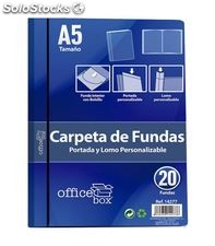 Carpeta 20 fundas a5 azul personalizable portada y lomo office box 14277