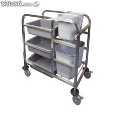 Carrito transporte acero inoxidable Vogue - 900(al)x820(an) x440(p)mm