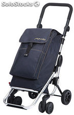 Carro compra plegable 4 ruedas GO up azul vaquero