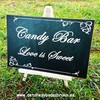 Cartel Candy Bar Love is Sweet Pizarra. Carteles de madera baratos para boda