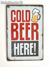 Cartel de Cerveza Cold Beer Here