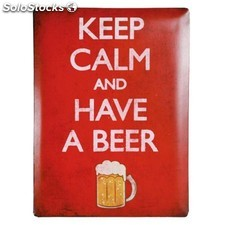 Cartel de Chapa cerveza Keep Calm and Have a Beer 30 x 40 cm