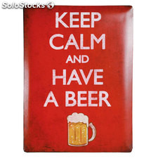 Cartel de Chapa Keep Calm and Have a Beer 30 x 40 cm Oh My Home