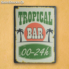 Cartel de Chapa Tropical Bar 30 x 40 cm