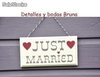 Cartel Just Married Corazones Rojos. Detalles y complementos boda