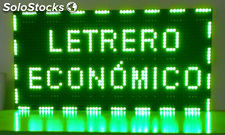 Cartel luminoso LED programable electrónico 64x32 cm Verde.