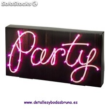 Cartel Luminoso Party. Carteles baratos para boda, fiestas, candy bar