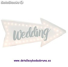 Cartel Luminoso Wedding. Decoracion original para boda