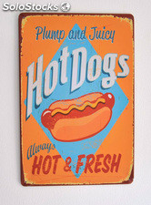 Cartel Metálico Hot Dogs, Hot & Fresh