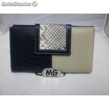 Cartera piel archidona color negro/beige