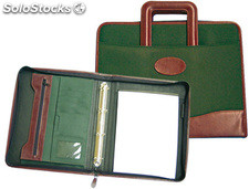 Cartera portadocumentos 35-921 verde/marron 360x285mm con asa4 anillas 40 mm