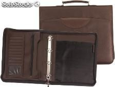 Cartera portadocumentos marron 360x290 mm con asa 4 anillas cremallera -