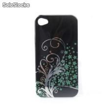 cartoon transparente borda protetora tampa da caixa de pvc para iphone4s (preto)