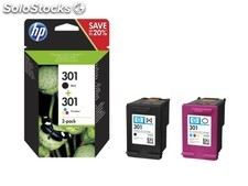 Cartucho hp 301 pack 2 negro-color