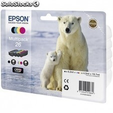 Cartucho multipack EPSON 26 19.7ml 4 colores - oso polar