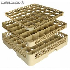 Casier de lavage 36 compartiments - verres 50x50x10 cm beige pp