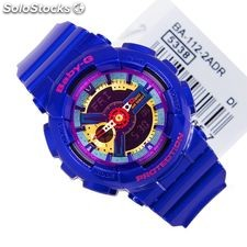 Casio Baby-G BA-112-2A BA112 Blue Analog Digital Shock Resist Ladies Watch