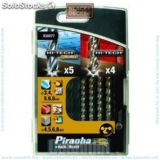 Cassette 9 brocas HI-TECH BULLET metal y Mampostería - Black and Deck