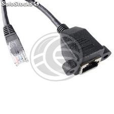 Category 6 UTP cable connector for attachment to a female black male panel of 5