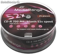 Cd-r 700mb 80min mediarange cake 25 52x - mr201
