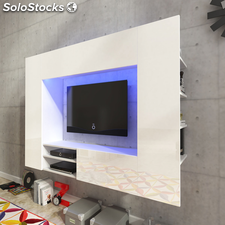 Centro de entretenimiento, mueble TV de pared con LED 169,2 cm blanco