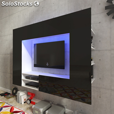 Centro de entretenimiento, mueble TV de pared con LED 169,2 cm negro