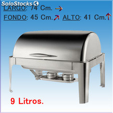 Chafing dish rectangular con tapa tipo roll pol