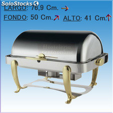 Chafing dish rectangular tapa roll top y pies dorados
