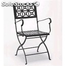 Chair isotta with armrests - mod. 2501 - flat steel frame - woven moulded metal