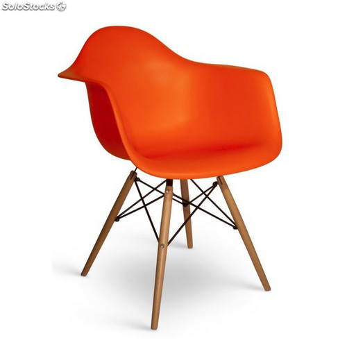 chaise eames daw style noyer orange. Black Bedroom Furniture Sets. Home Design Ideas