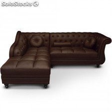 Chaise longue Brittish, PU marron (derecha)