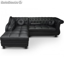 Chaise longue Brittish, PU negro (derecha)