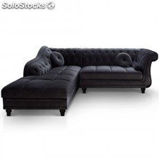 Chaise longue Brittish,terciopelo negro drc