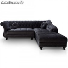 Chaise longue Brittish,terciopelo negro izq
