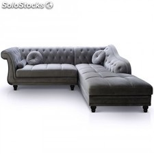 Chaise longue Brittish,terciopelo plata izq