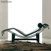 Chaise longue Lecor 1 plaza piel negra - Foto 1