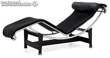 Chaise Longue, lecor-ptne (b), piel top negra.